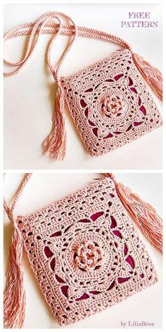 Newest Photo Crochet Bag flower Tips Crochet Jude Flower Square Bag Free Crochet Patterns Crochet Bolero, Bag Crochet, Crochet Diy, Crochet Handbags, Crochet Purses, Crochet Crafts, Crochet Stitches, Crochet Projects, Crochet Patterns