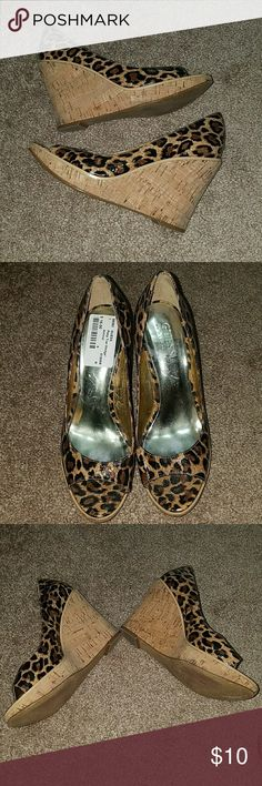 Leopard print Guess wedges Used leopard print Guess by Marciano wedges Guess by Marciano Shoes