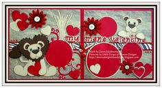 A two page Valentine's Day layout featuring paper piecing patterns from Little scraps of Heaven Designs.