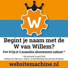 Begint je voornaam, achternaam of bedrijfsnaam met de W van Willem? Dan krijg je van ons 2 maanden abonnement cadeau als je je website in april 2019 activeert. Web Design, Website, Facebook, Design Web, Website Designs, Site Design