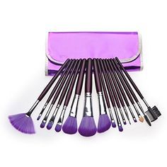 awesome KLAREN 16pc Professional Cosmetic Makeup Make up Brush Brushes Set Kit With Purple Bag Case