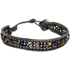 Nakamol Bracelet ($27) ❤ liked on Polyvore featuring jewelry, bracelets, khaki, leather bangle, leather jewelry, adjustable bangle, nakamol and nakamol jewelry