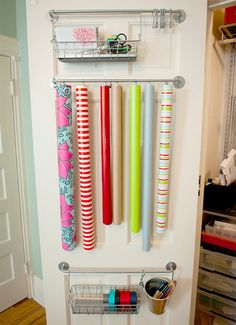 Our Top 11 space saving gift wrap storage solutions to help you get organized and ready for the holiday rush! Great DIY ideas on wrapping paper organization Craft Organization, Craft Storage, Closet Organization, Paper Storage, Storage Ideas, Door Storage, Storage Solutions, Organizing Shoes, Storage Shelving
