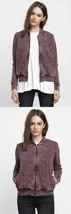 RVCA Women's Bloom Bomber Jacket, Wine, Smal Casual Jackets, Bomber Jacket, Bloom, Vest, Wine, Womens Fashion, Sweaters, Women's Fashion, Sweater