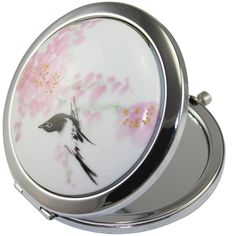 KOLIGHTChinese Landscape Flower Bird Double Sides (One is Normal,Another is Magnifying)Portable Foldable Pocket Metal Makeup Compact Mirror Woman Cosmetic Mirror (Flower Black Bird) * Learn more by visiting the image link.