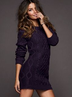 I love chunky sweater dresses in the fall and winter (Victoria Secret). This would be super cute with knee highs and the brown boots I just ordered!