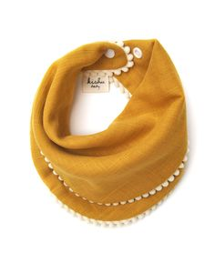 Kishu Baby Pom Pom Bib for Girls | Set of 2 | Mustard with Ivory Trim, Purple with Ivory Trim | Premium 100% Cotton Muslin