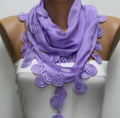 Lilac  Scarf   Cotton  Scarf  Headband Necklace Cowl by fatwoman, $15.00