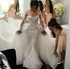 Middle East 2016 Wedding Dresses Mermaid Bridal Dresses Trailing Sexy Lace Overskirts Berta Bridal Wedding Gowns Luxury Dress Detachable