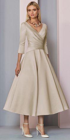240d52c145b  106.99  Graceful Satin V-neck Neckline Tea-Length A-line Mother Of The Bride  Dress