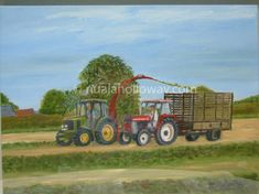 """""""Making Silage"""" by Nuala Holloway - Oil on Canvas Agriculture Farming, Tractors, Countryside, Oil On Canvas, Monster Trucks, Landscape, Vehicles, Art, Craft Art"""