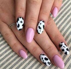 Gel Uv Nails, Glue On Nails, French Nails, Nail Art Designs, Cow Nails, Nagellack Trends, Thanksgiving Nails, Nail Polish Trends, Trim Nails