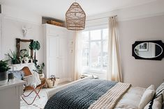 Wicker Lampshade From Graham And Green – Theresa& Four Bed Boho Inspired Home. Scandi Bedroom With Natural Textures And Greenery. Image By Adam Crohill. Decor, Bedroom Decor, Wall Decor Bedroom, Furniture, Bedroom Design, Home Decor, Shabby Chic Room, Bedroom Lampshade, Bedroom Wall