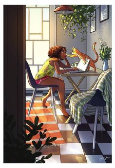 Beautiful art illustrations by Yaoyao Ma Van As Art Shared by Veri Apriyatno Artist . Black Girl Art, Black Women Art, Art Girl, Winter Thema, Art Africain, Magic Art, Aesthetic Art, Belle Photo, Cat Art