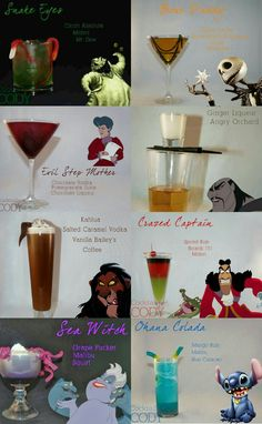 Disney Cocktails, Disney Alcoholic Drinks, Halloween Cocktails, Disney Mixed Drinks, Party Drinks, Cocktail Drinks, Fun Drinks, Beverages, Mixed Drinks Alcohol