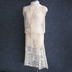 Antique 1920s Vintage Flapper Dress Cream Drop by JuneeMoonVintage