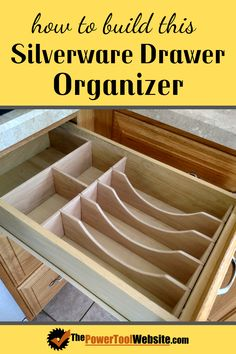 Get max space for your silverware by building this custom silverware drawer organizer. See how to make one that fits your drawer, and how to mark out and cut the pieces. Unique Woodworking, Easy Woodworking Projects, Woodworking Techniques, Woodworking Plans, Wood Projects That Sell, Easy Wood Projects, Project Ideas, Diy Wooden Toys Plans, Wooden Diy