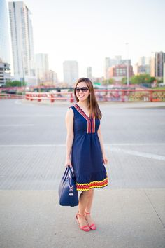 navy dress with a pop of color boden tia perciballi fashion blog