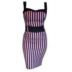 Switchblade Stiletto Pink Striped Darling Dress
