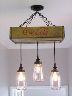 Coca Cola araña/plafón con iluminación por OutoftheWdworkDesign