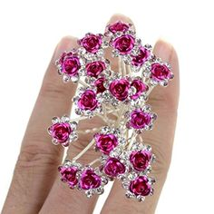 Bhbuy 20 pcs Bridal Wedding Flower Crystal Hair Pins Clips Bridal Prom (hot pink) ** More info could be found at the image url.