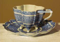 Vintage Quatrefoil Blue & White, Hand Painted Design, Tea Cup & Saucer - Chinese Cups & Saucers photo