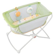Check out the Rock 'n Play Portable Bassinet - Green at the Fisher-Price website. Explore all our baby and toddler gear, toys and accessories today! Bedside Sleeper, Bedside Bassinet, Baby Bassinet, Baby Cribs, Toddler Furniture, Nursery Furniture, Co Sleeper, Delta Children, Swing Seat