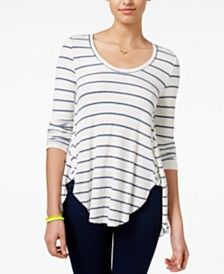American Rag Juniors' Striped High-Low Top, Only at Macy's