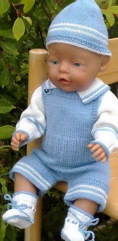 Baby Born doll in knitted overalls