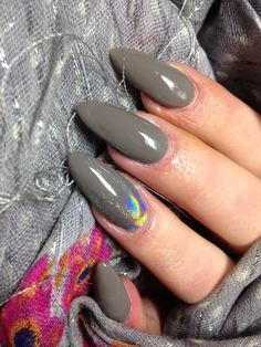 Grey almond nails with unicorn pigment Lolly's Nails and Beauty