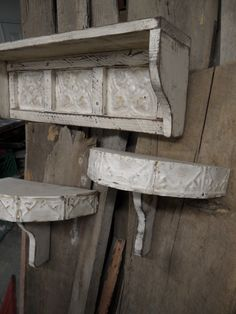 Bought these on Etsy - they look awesome in my living room. French country wall shelf, cottage chic shelves, shabby chic wall shelves, primitive wall shelf, antique style wall shelf. $129.99, via Etsy.
