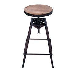 Adeco Metal Bar Stool Barstool Adjustable Height with Wooden Top, Unique Retro Vintage Antique style Adeco