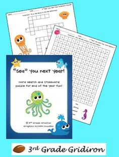 """""""Sea"""" You Next Year Freebies (word search, crossword puzzle, and silly straw tags!)  from 3rd Grade Gridiron"""