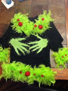 My tacky christmas sweater! Grinch hands