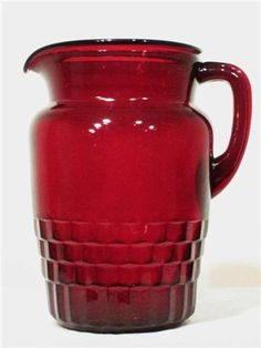 RARE VINTAGE RUBY RED GLASS PITCHER VASE JUG FIGURE ART I have one of these.