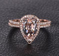 Pear Morganite Engagement Ring Sets Pave Diamond Wedding 14K Rose Gold 8x12mm - Lord of Gem Rings - 3
