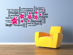 Reach For The Stars - Playroom Rules Vinyl Wall Decal - 2 COLOR by MyaAddisyn on Etsy https://www.etsy.com/listing/174297386/reach-for-the-stars-playroom-rules-vinyl