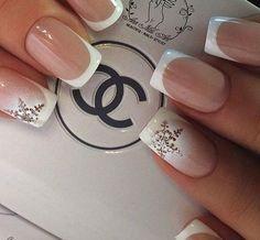 Snowflake nail art #nails #French #naildesign                                                                                                                                                      More