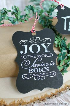 A tutorial for DIY Faux Chalk Christmas Tags.