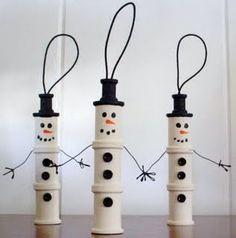 snowmen ornaments from spools