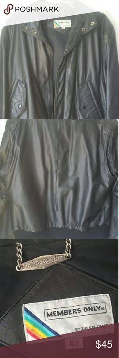 Vintage Men's Member's Only Black Leather Jacket Grandpa's vintage genuine leather Member's Only bomber  jacket.  Features buttoned side pockets.  Two snap buttons on bottom and zipper.  Buttons on top too to make a mock turtleneck collar for colder days.  Inside has a pocket as well.  Mens 42. Jackets & Coats
