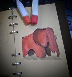 Elephant Eames - watercolor