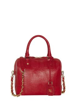 OLIVIA EMBOSSED LEATHER BAG in RED by Alice + Olivia