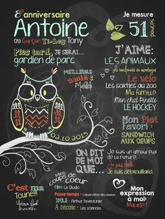 Affiche personnalisée anniversaire 6 à 12 ans Monsieur Hibou (bleu) | 28,00$ #chalkboard #lacraieco Husband Birthday, Chalkboards, Fun Crafts, Activities For Kids, Free Printables, Lily, Invitations, Party, Posters