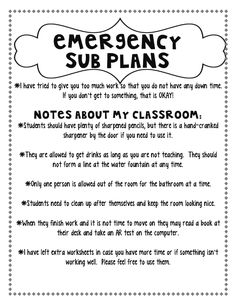 Create A Simple, Easy, and Free Emergency Sub Plan Kit   Emergency ...