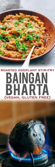 This easy baingan bharta recipe is one of those Indian curries thats going to be a sure shot hit at home! #Baingan (eggplant/aubergine) is studded with garlic and roasted on an open flame, and then stir-fried with aromatics for the most delicious smoky flavour. Directions for making it in the oven too. My Food Story #indianfood #recipes #eggplantrecipe