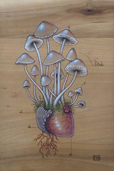 (Psilocybin) Mushroom Heart. Like the idea, drawn a little differently