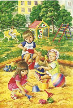 View album on Yandex. Playground Pictures, Illustration Mignonne, Baby Clip Art, Childhood Friends, Children's Book Illustration, Summer Crafts, Kids Playing, Childrens Books, Art For Kids