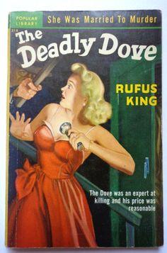 vtg pulp book novel The Deadly Dove Rufus King 1951 pin up girl art cover murder