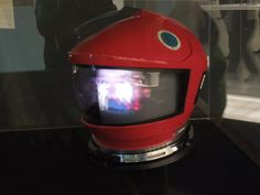 Hollywood Movie Costumes and Props: Original spacesuit and helmet from 2001: A Space Odyssey on display... Original film costumes and props on display